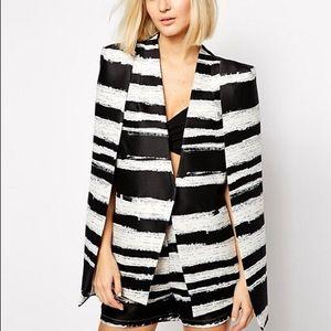 B&W Distorted Stripe Cape Blazer ONEDAYSALE